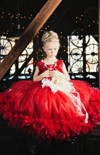 Couture+Little+Lady+In+Red+Feather+Gown
