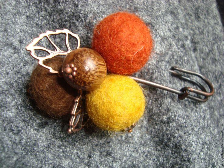 """Купить Броши-булавки """"Горчичная"""" и др. - рыжий, горчичный цвет, брошь-булавка, шерстяные шарики"""