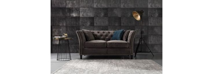 Sofa Chesterfield Modern Velvet Dark Grey  #dekoriapl #sofa #chesterfield #furniture #livingroom #aksamit #style #beautiful #design #