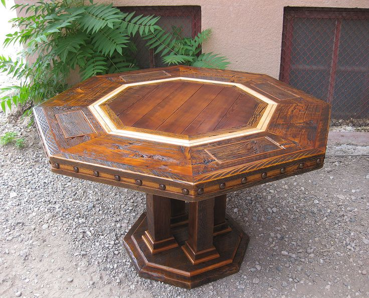 Beautiful Rustic Poker Table, Complete With A Plank Top And Hide Away Chip  Trays