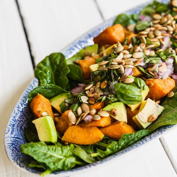 Spicy Pumpkin, Avocado and Spinach Salad A healthy salad addition to any meal lunch or dinner. For the full recipe and to take our free assessment and download the free program @ www.happyhormones.com.au Join our private group for support and chat https://www.facebook.com/groups/happyhormones/ #weightloss #pms #ACNE #PCOS #fibroids #pmdd #moodswings #menopause #acne #happyhormones #happy #hormones #endometriosis #katrinabutterworth