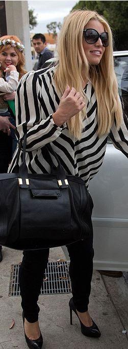 White stripe long sleeve top
