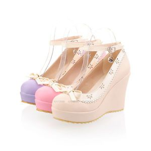 Womens-Ladies-Comfort-High-Heels-Classics-Wedge-Bowknot-Casual-Shoes-UK-Size