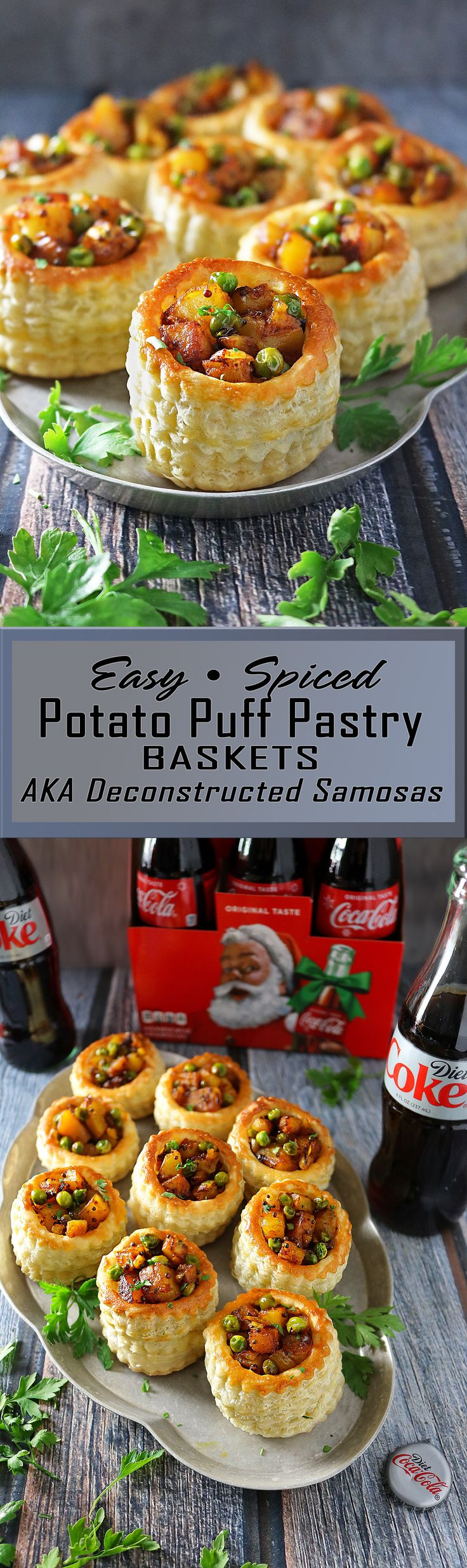 Easy Spiced Potato Puff Pastry Baskets - If you feel challenged when it comes to samosa folding like I do, then why not try making these Spiced Potato Puff Pastry Baskets or deconstructed samosas? #ad #ServeWithACoke