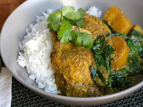 This chicken, potato and spinach curry is such a warming, filling winter's meal. Marinate the meat, brown it off in a pan, then pop it all in the slow cooker and leave it to let the magic happen.