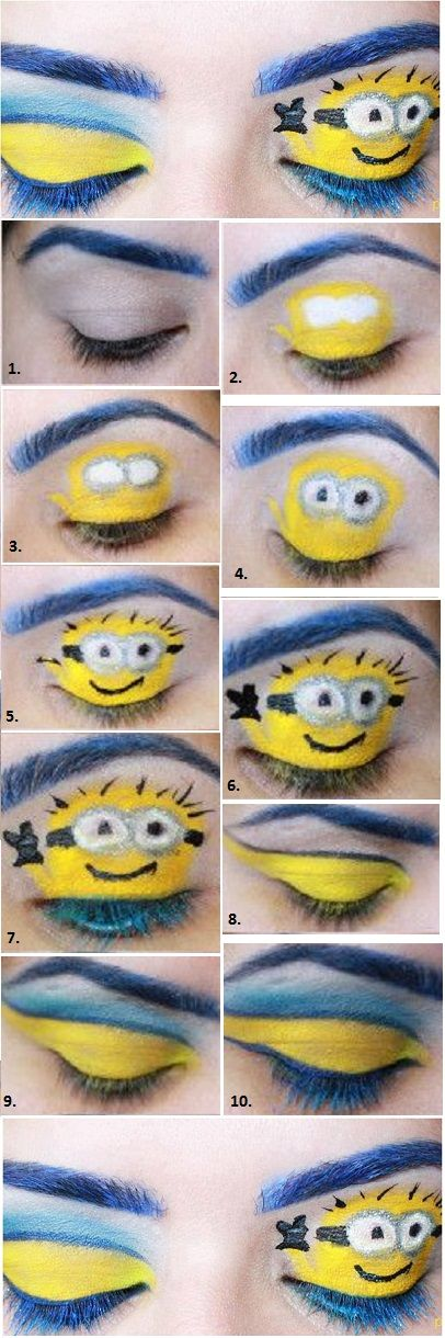 """Despicable Me 2 Makeup Look...I'm not saying """"do it""""....but it is petty funny"""