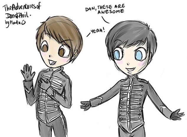 D&P in My Chemical Romance black parade suits!!
