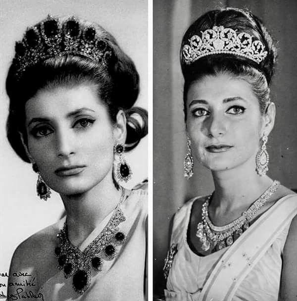 الأميرة شهناز بهلوي ابنة شاه إيران محمد رضا بهلوي والأميره فوزيه ترتدي مجموعتين من روائع المجوهرات الملكية الإيرانية Royal Jewelry Farah Diba Royal Family
