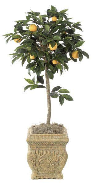Artificial Topiary Trees, Flower Topiary, 4.5 feet Orange Fruit Topiary