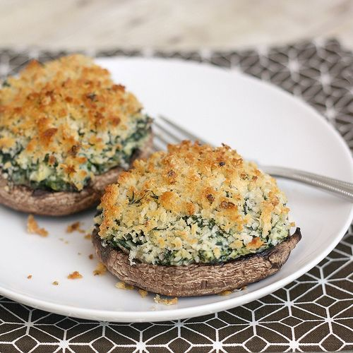 Stuffed Mushrooms with Creamy Spinach-Artichoke Filling