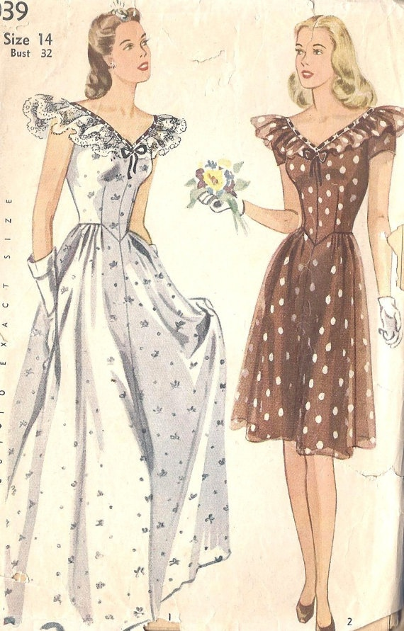 17 best images about vintage sewing patterns i love on for 1940s wedding dress patterns
