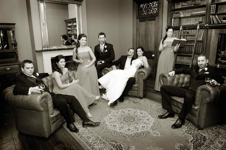 Casual wedding party shot
