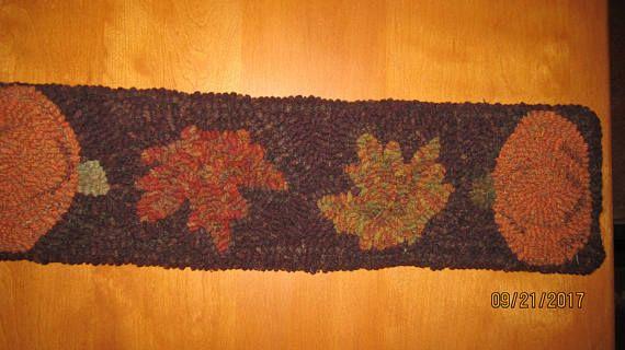 Primitive Hooked Rug Pumpkin & Leaves Table Runner or Mat Folk
