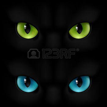 blauwe+ogen%3A+Groene+en+blauwe+katten+ogen+op+een+zwarte+achtergrond+Stock+Illustratie