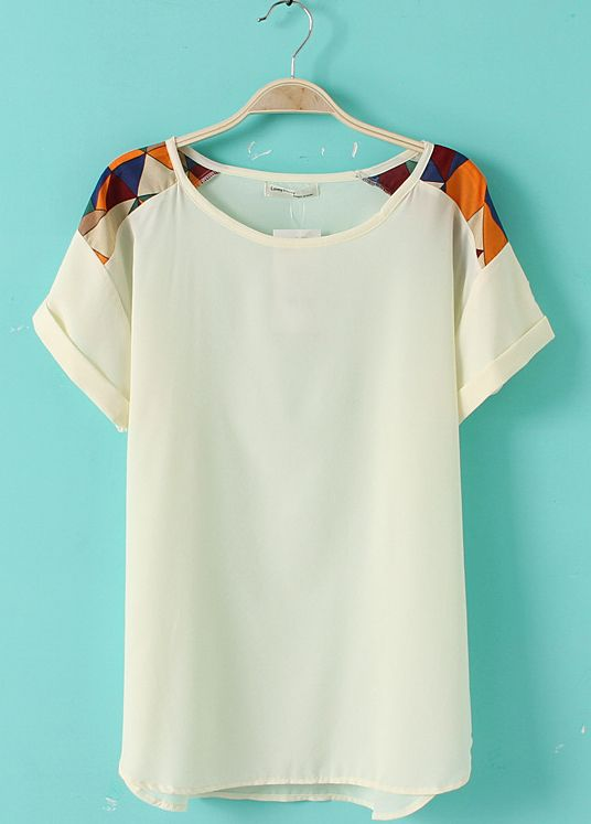 White Short Sleeve Geometric Print Shoulder Chiffon T-Shirt - Sheinside.com