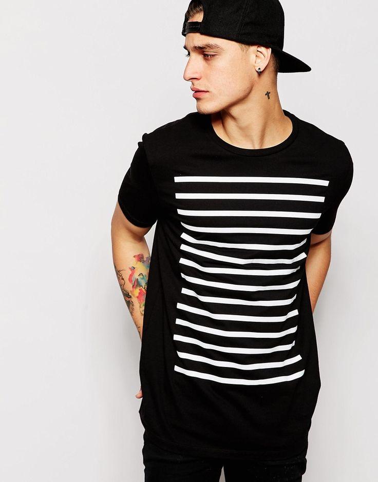 Image 1 of ASOS Longline T-Shirt With Stripe Print