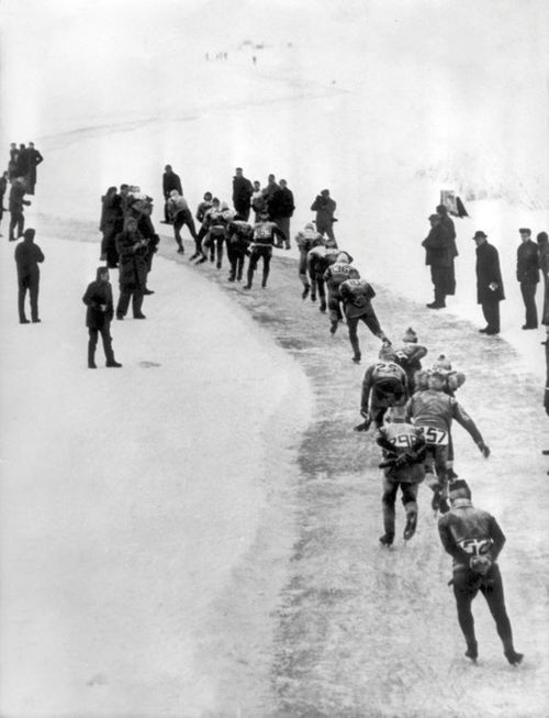 Elfstedentocht, 1963. Ice Skating is a old phenomenon in Holland.