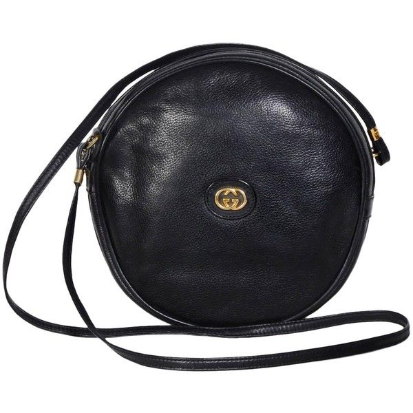 aac508f7cde Gucci 70 s Vintage Black Leather Canteen Crossbody Bag ( 625) ❤ liked on  Polyvore featuring bags