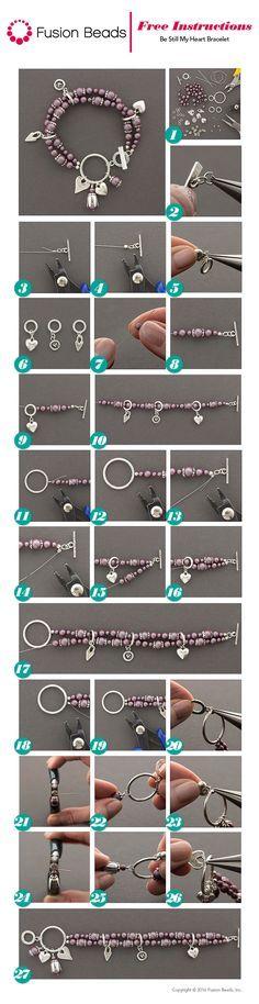 Be Still My Heart Bracelet - Swarovski - pearl bracelet - DIY charm bracelet - jewelry making - make your own bracelet