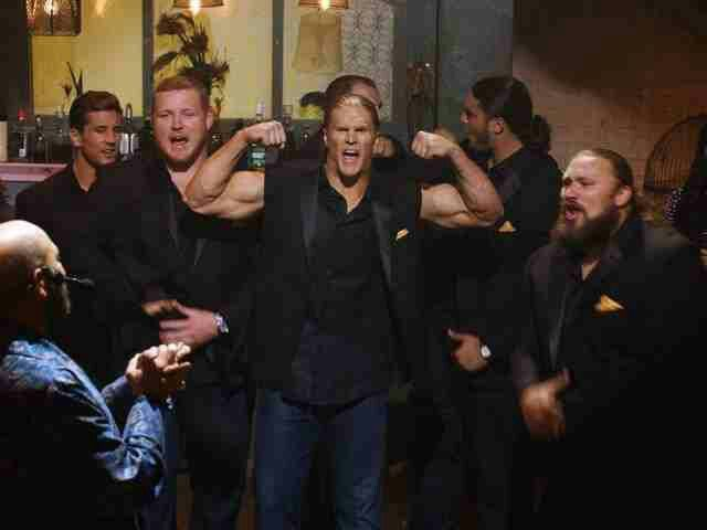 Clay Matthews and the Packers O-Line in Pitch Perfect 2 they are the only reason I will be seeing this movie