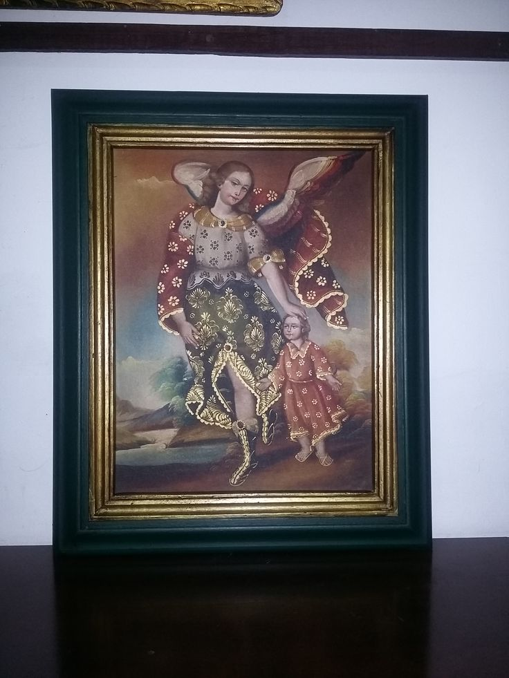 óleo Angel de la guarda. Marco liso en madera.