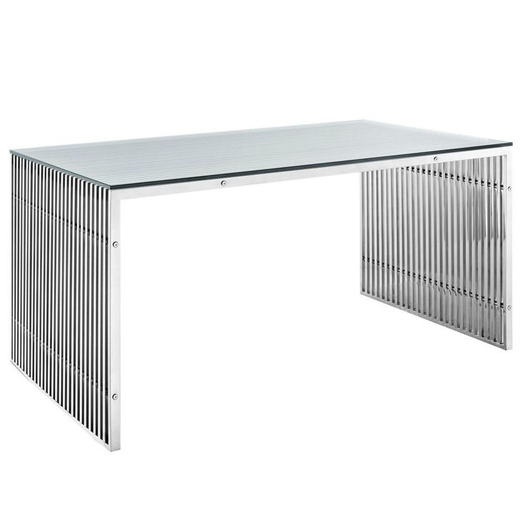 <p>The conduit design of this Gridiron series installment artfully blends stainless steel tubing with a tempered glass table top. Modernism used to be about extremes. Wild shapes and patterns that don't dare resemble its predecessors. We've reached an age of maturity of sorts. We appreciate style, but all the more, we respect those designs that represent a blending of cultures. The Gridiron stainless steel office desk is famous not for its radical shape, but for the strategic tra...
