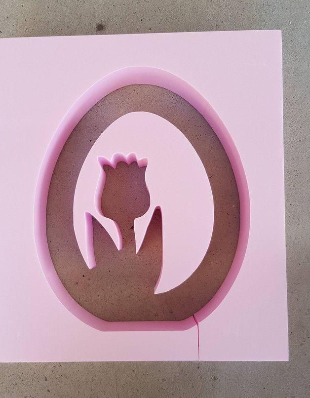 Beton Giessform - EI mit Tulpe  Material: Styrodur Höhe: 25 cm Breite: 20 cm Tiefe: 6 cm  auch in Eurer Lieblingsgröße möglich!   Auf den Bildern siehst Du einmal die zu erwerbende Form...