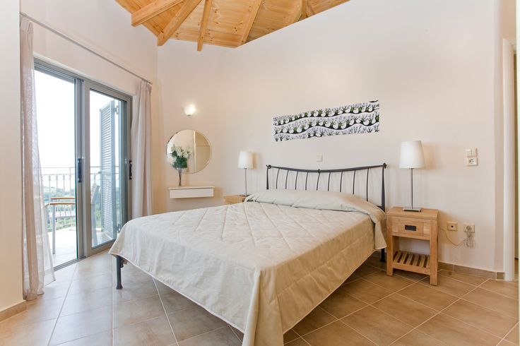 Upstairs, a pair of hexagons host two, well appointed bedrooms, a double and a twin, both with private balconies and sea view.