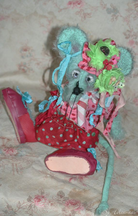 Ooak Handmade mouse plush: Florette by heliantas on Etsy