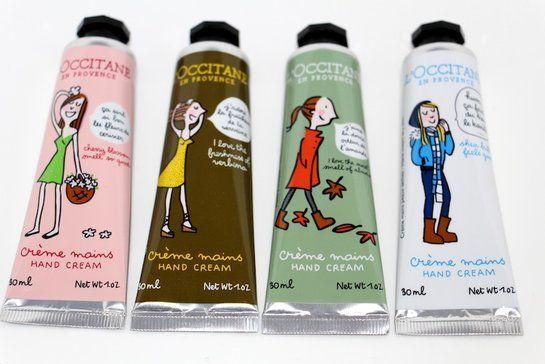 Trop mignonnes, les crèmes de main l'Occitane illustrée par Soledad, illustratrice du magazine Elle... http://www.saint-e-shopping.com/creme-pour-les-mains-illustrees-soledad-magazine-elle-l-occitane-saint-etienne