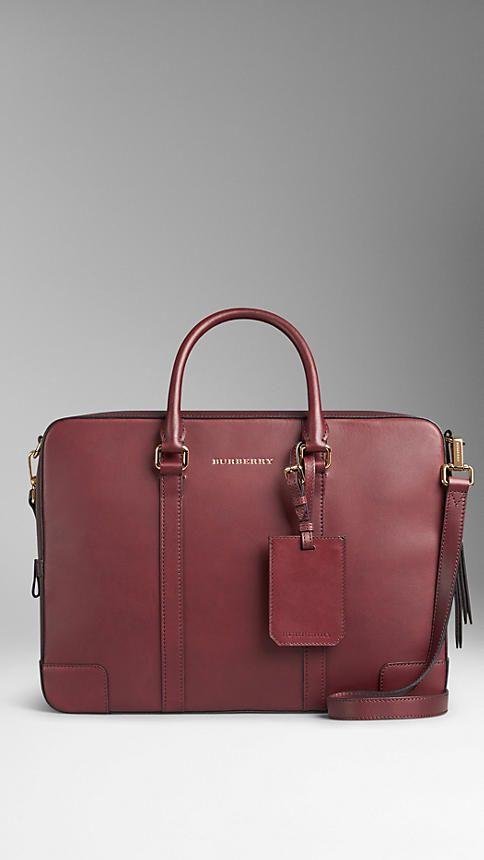 Deep claret Sartorial Leather Crossbody Briefcase - Image 1