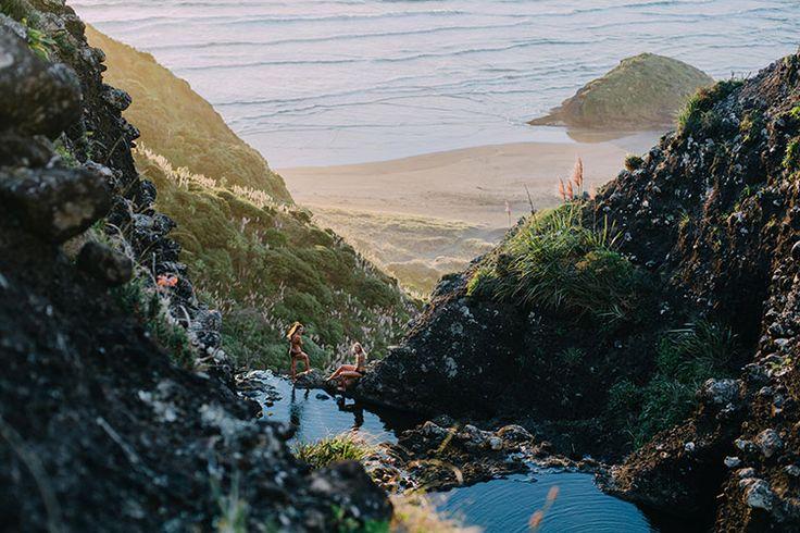 Anawhata beach rock pools