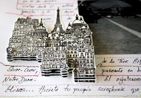 Carabell's Paris Stamp. Layout for The Paradise Corner.