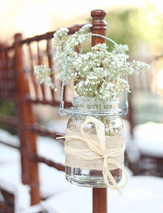 Aisle Flowers- very simple, but very pretty: Burlap, Decor Ideas, Babybreath, Wedding, Chairs Decor, Baby Breath, Flowers, Mason Jars, Aisle Decor