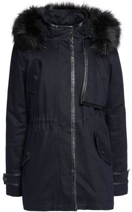 Maje Faux Fur Shearling And Leather-Trimmed Cotton-Twill Parka