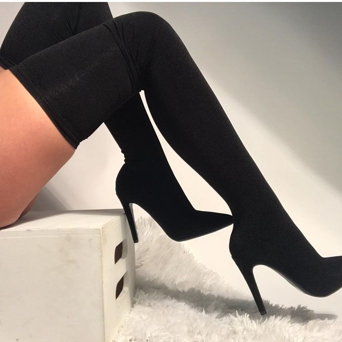 Black Knit Pointed Toe Thigh High Boots