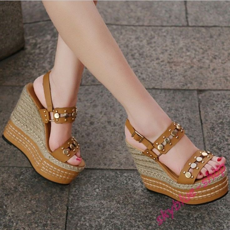 Womens Gothic Rivet Sandals Knitted Platform High Heels Pump Leather Shoes