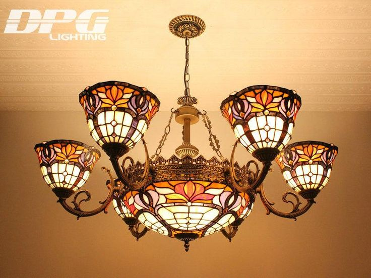 Tiffany Chandeliers Pendant Light Stained Glass Eight Heads Wrought Iron Alloy Retro Art Chandelier Living Room Dining Room Den Bedroom Vill Light Pendants Black Pendant Light From Dpgkevinfan, $876.44| Dhgate.Com