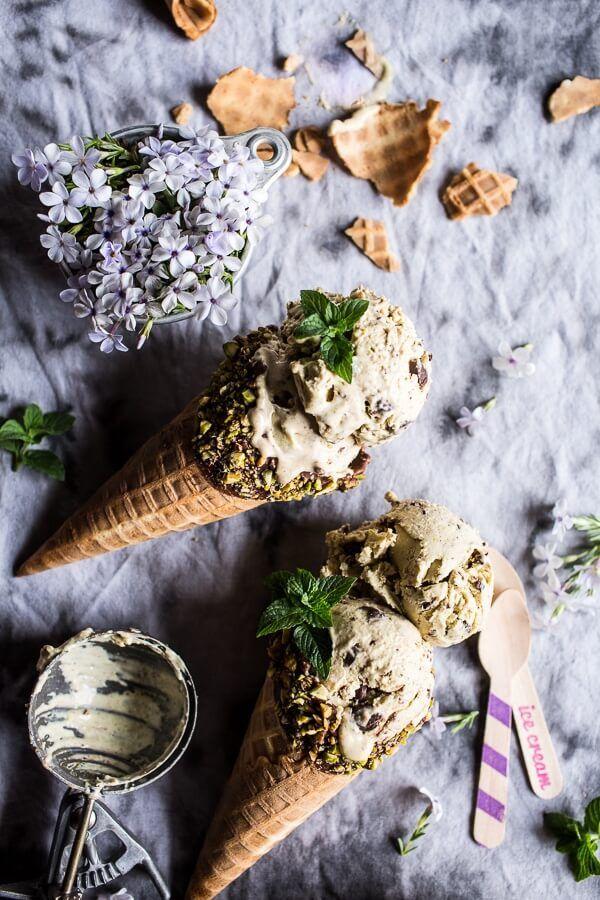 Pistachio Mint Chip Ice Cream.