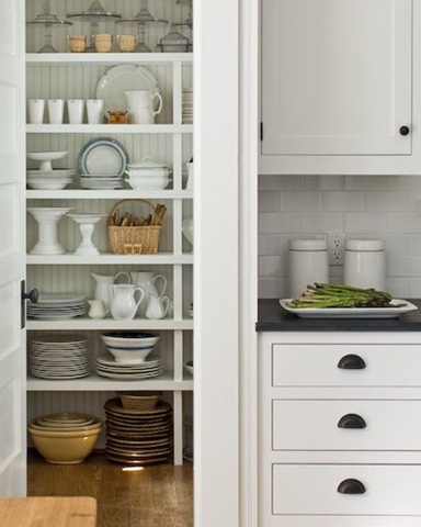 Open Shelving in a white kitchen