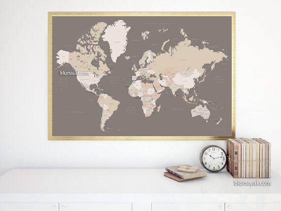48x32 Printable World Map With Countries Names Us States Canadian Provinces Earth