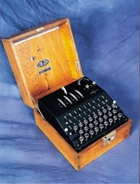 Enigma machine -The German military used the Enigma cipher machine during WW2 to keep their communications secret. http://www.bletchleypark.org.uk/edu/archives/machines.rhtm#
