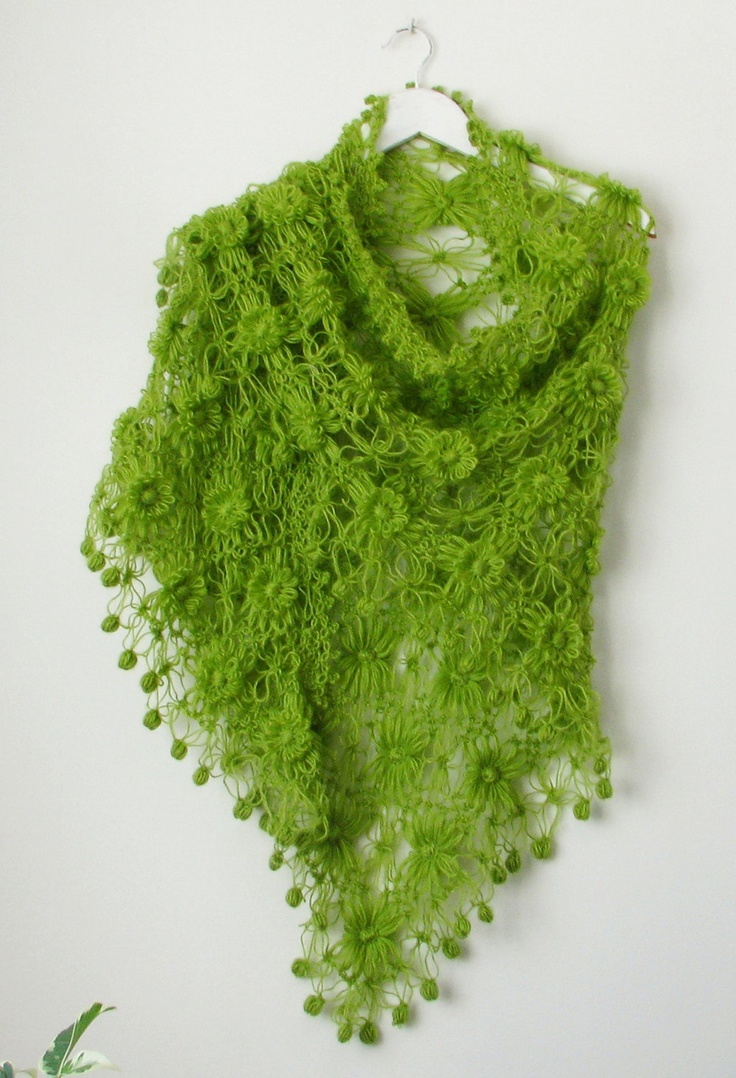 Green Flowered Triangle Mohair Shawl. $85.00, via Etsy.