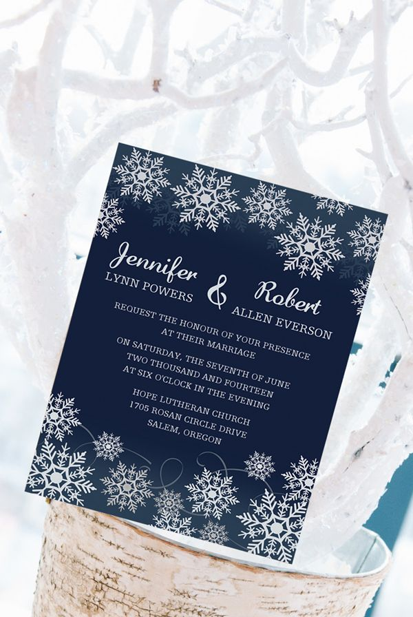 affordable navy blue snowflake winter wedding invitations