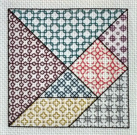 This modern blackwork design is inspired by those lovely, old, wooden tangram pieces filled with deep colors and infinite possibilities. Its a