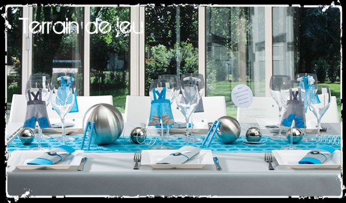 D co de table de bapt me gar on d co de table bleu c for Decoration bapteme garcon