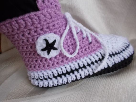 Converse Slippers Women Converse Slippers crochet  by valdesven