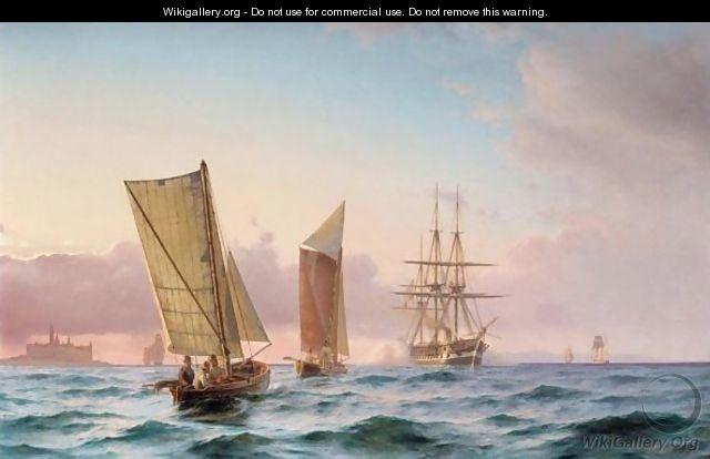 Carl Neumann (1833-1891): A Danish Frigate Firing A Salute