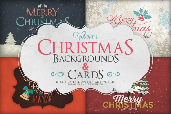 Check out #Christmas Background & #Cards Vol.1 by Zeppelin Graphics on Creative Market