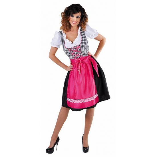 Zwarte dirndl jurk met roze schort voor dames  Luxe zwarte dirndl met roze schort voor dames. Tiroler jurkje met zwarte zijde rok zwart wit geblokte bustier en roze zijde schort voor dames. Luxe kwaliteit. Zeer geschikt voor bijvoorbeeld Oktoberfest of bierfeest.  EUR 79.95  Meer informatie